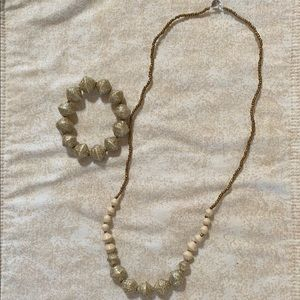31 Bits Necklace and Bracelet Gold & Off White